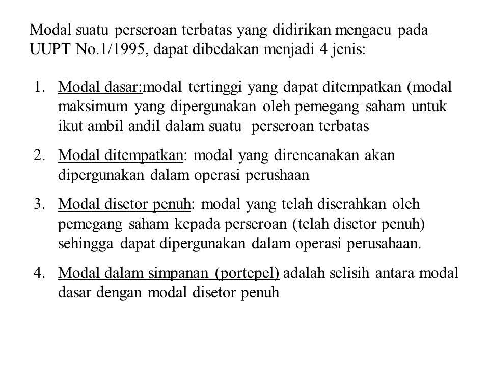 Modal suatu perseroan terbatas yang didirikan mengacu pada UUPT No