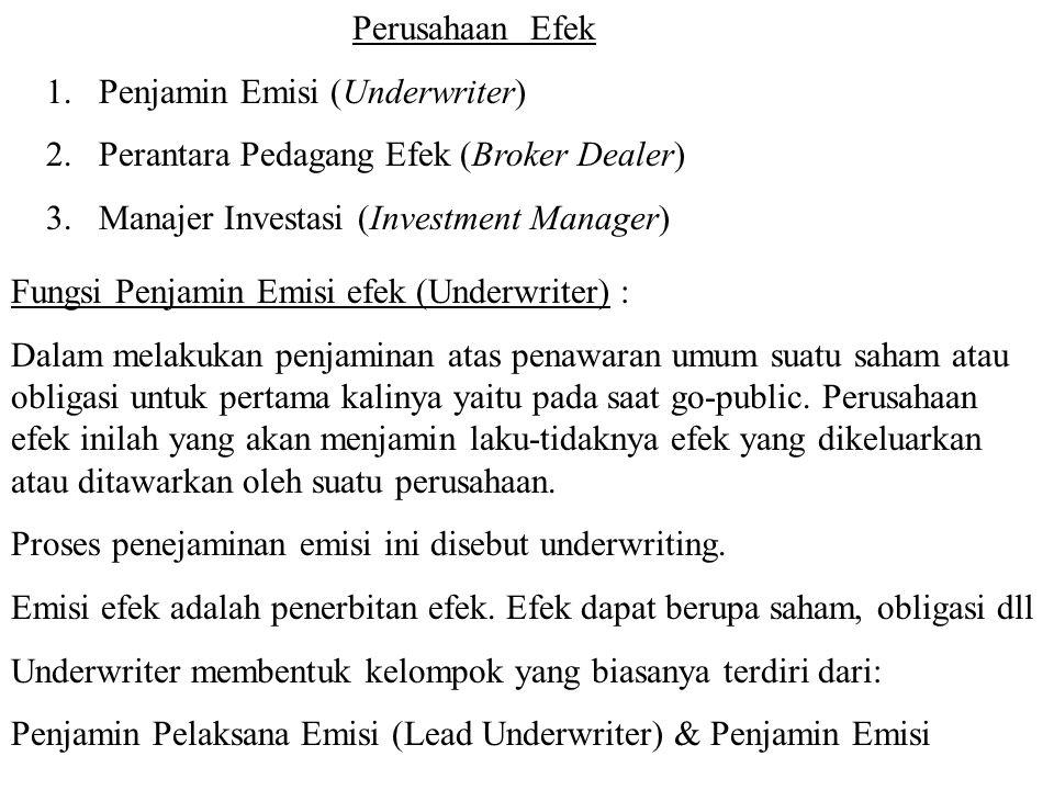 Perusahaan Efek Penjamin Emisi (Underwriter) Perantara Pedagang Efek (Broker Dealer) Manajer Investasi (Investment Manager)