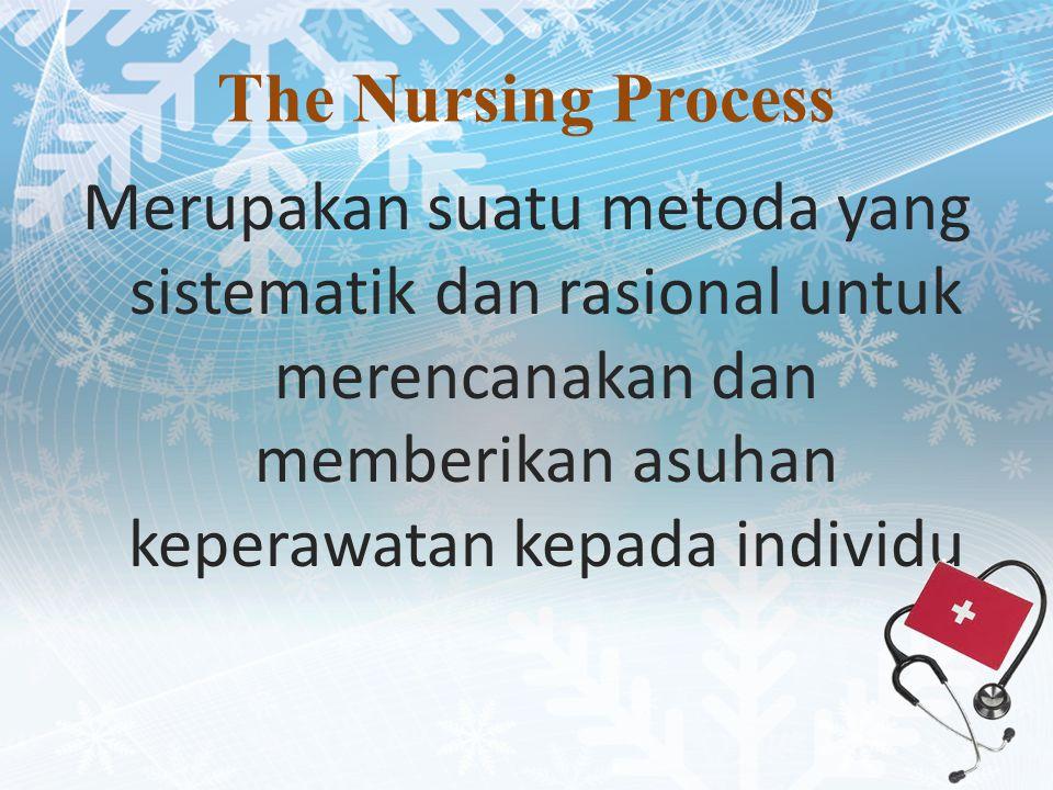 The Nursing Process Merupakan suatu metoda yang sistematik dan rasional untuk merencanakan dan memberikan asuhan keperawatan kepada individu.