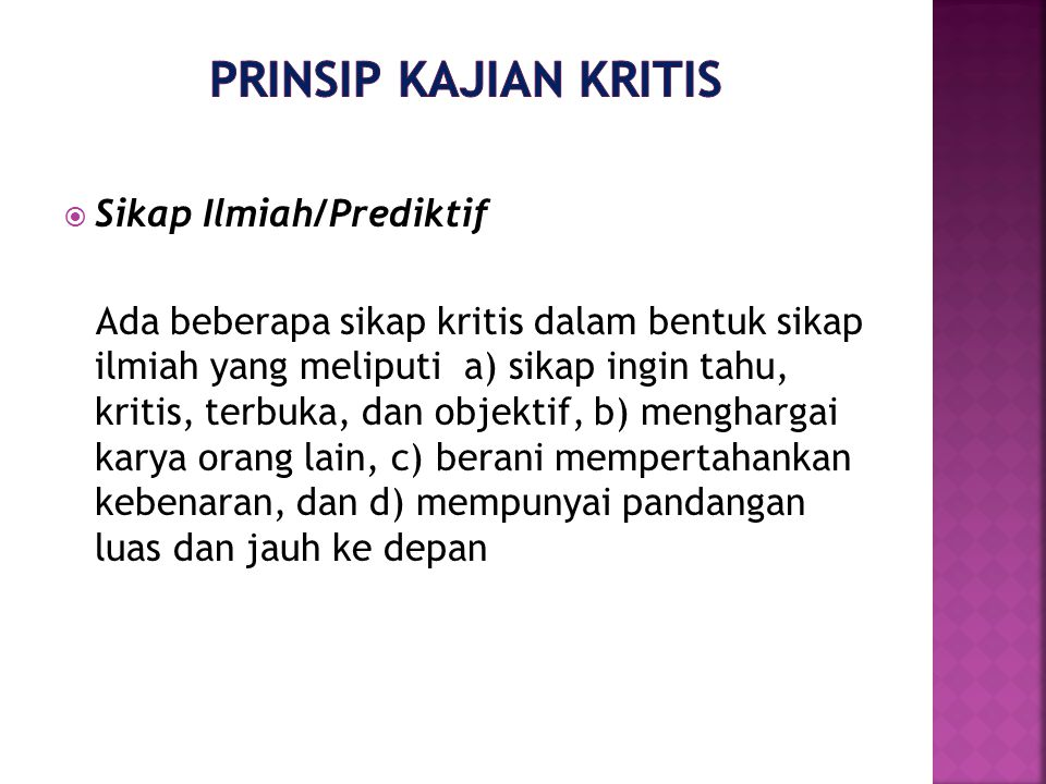Prinsip Kajian Kritis Sikap Ilmiah/Prediktif
