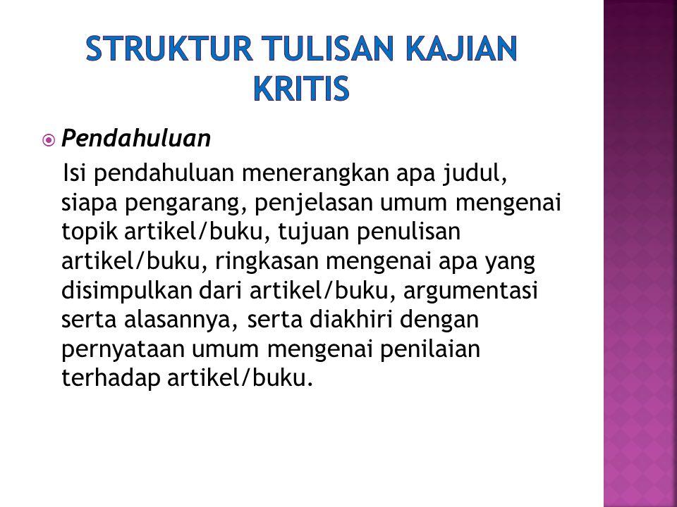 Struktur Tulisan Kajian Kritis