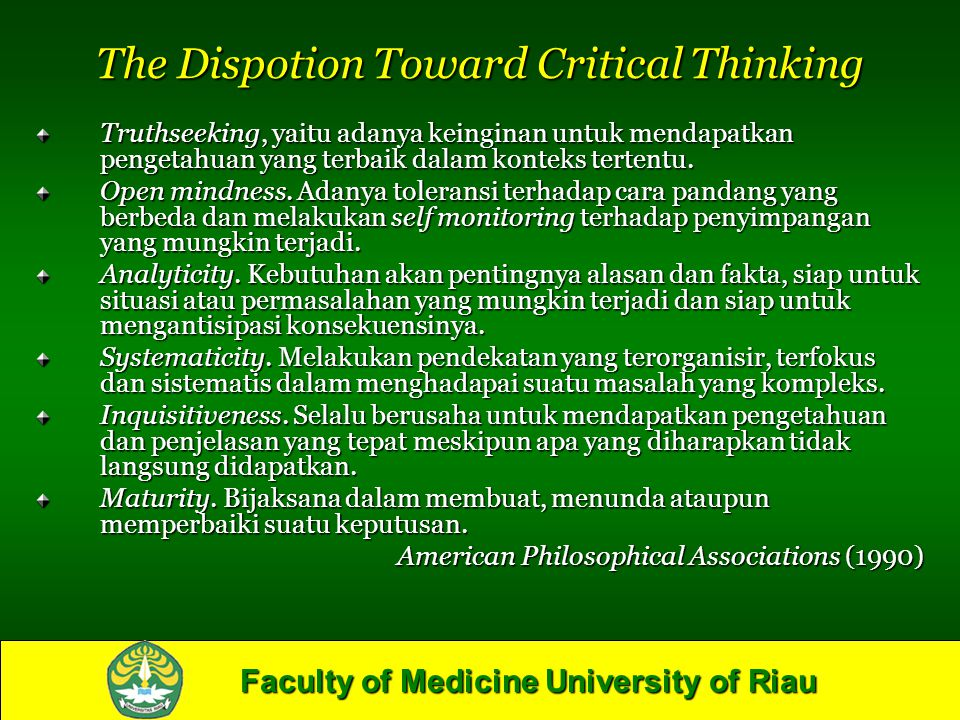 The Dispotion Toward Critical Thinking