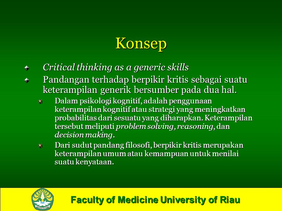 Konsep Critical thinking as a generic skills