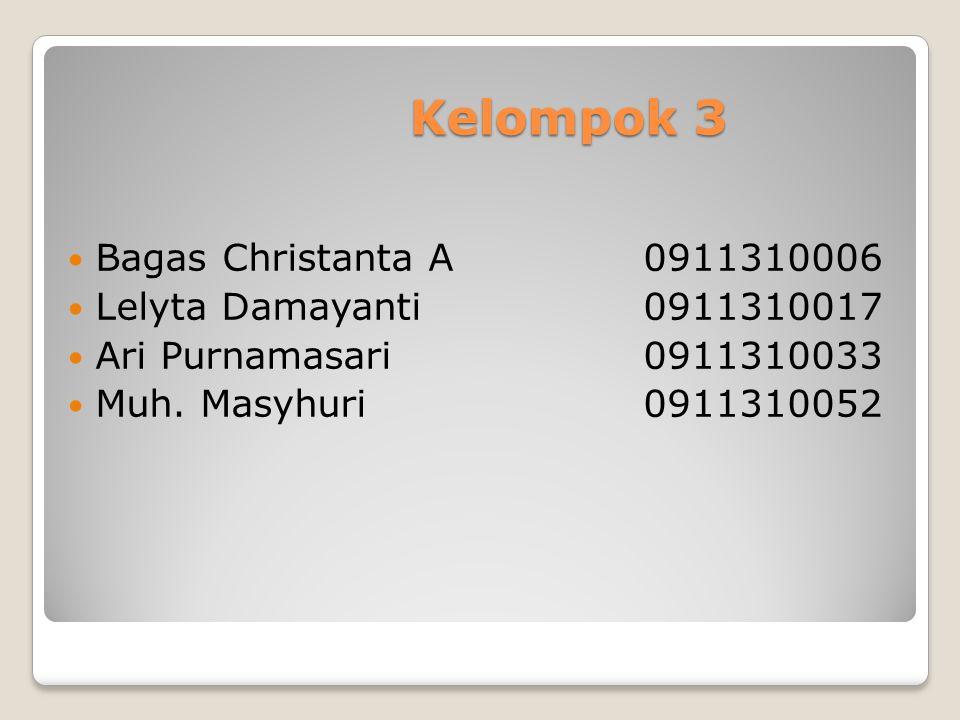 Kelompok 3 Bagas Christanta A 0911310006 Lelyta Damayanti 0911310017