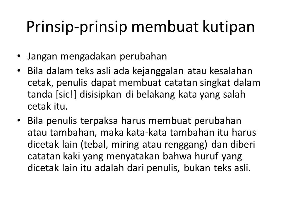 Prinsip-prinsip membuat kutipan