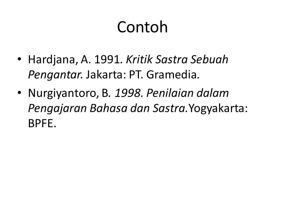 Contoh Hardjana, A. 1991. Kritik Sastra Sebuah Pengantar. Jakarta: PT. Gramedia.