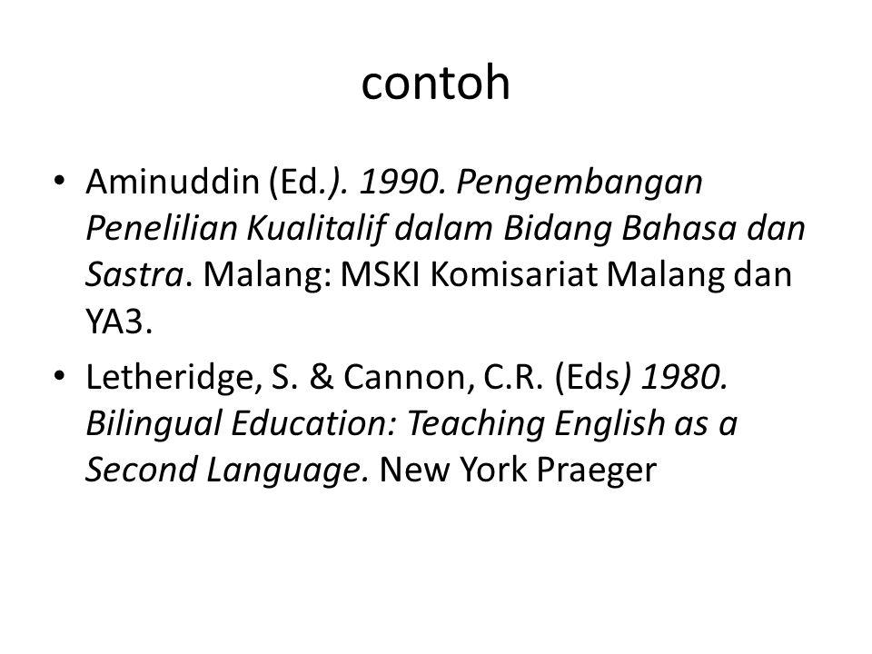 contoh Aminuddin (Ed.). 1990. Pengembangan Penelilian Kualitalif dalam Bidang Bahasa dan Sastra. Malang: MSKI Komisariat Malang dan YA3.
