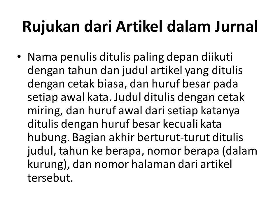 Rujukan dari Artikel dalam Jurnal