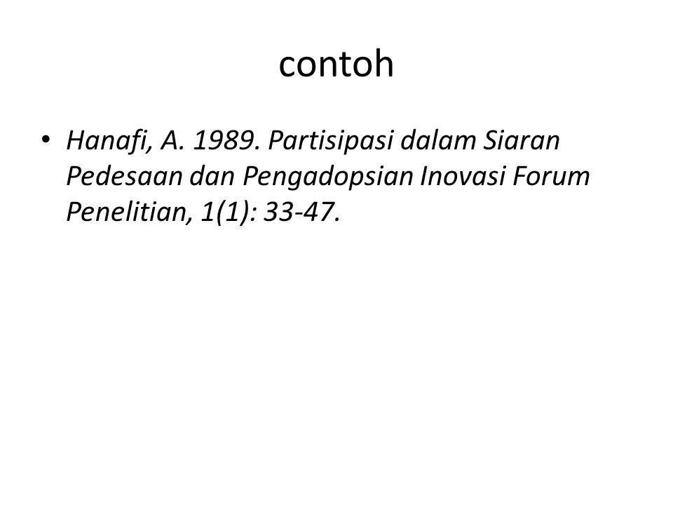 contoh Hanafi, A. 1989.
