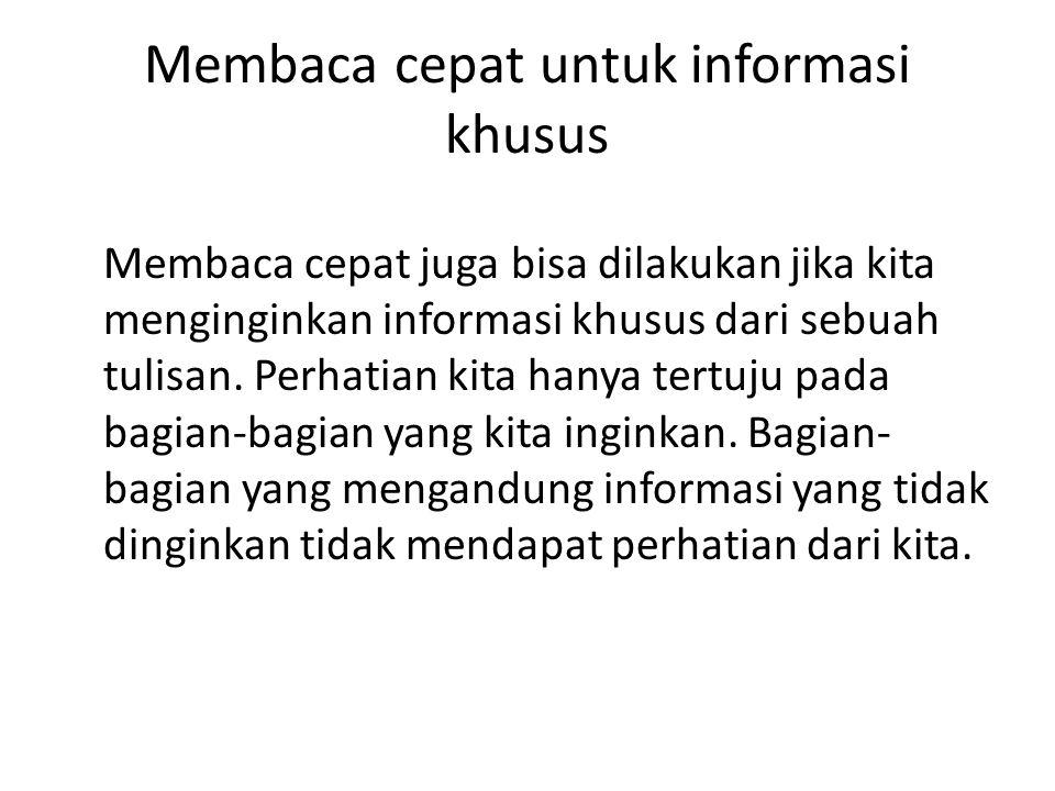 Membaca cepat untuk informasi khusus