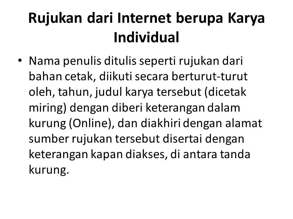 Rujukan dari Internet berupa Karya Individual