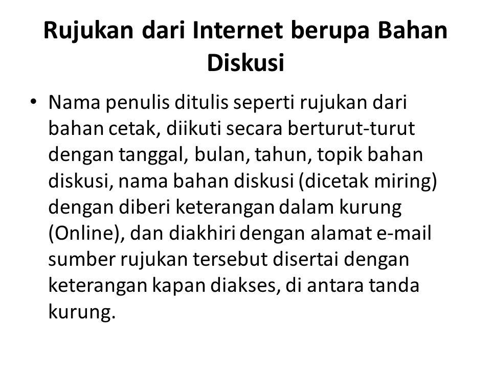 Rujukan dari Internet berupa Bahan Diskusi