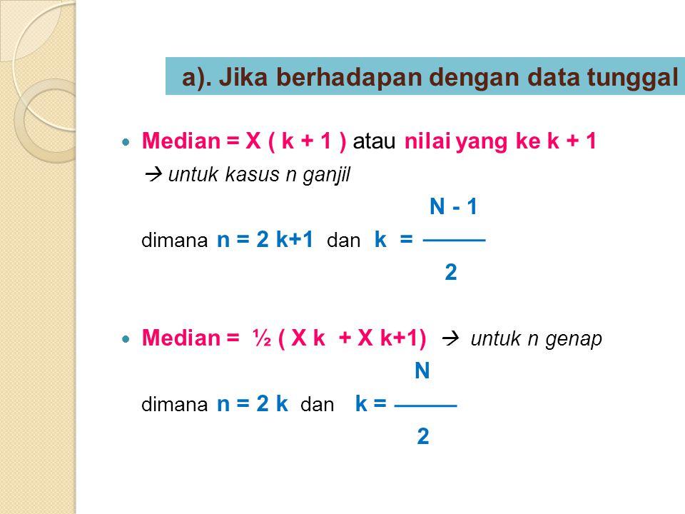 a). Jika berhadapan dengan data tunggal