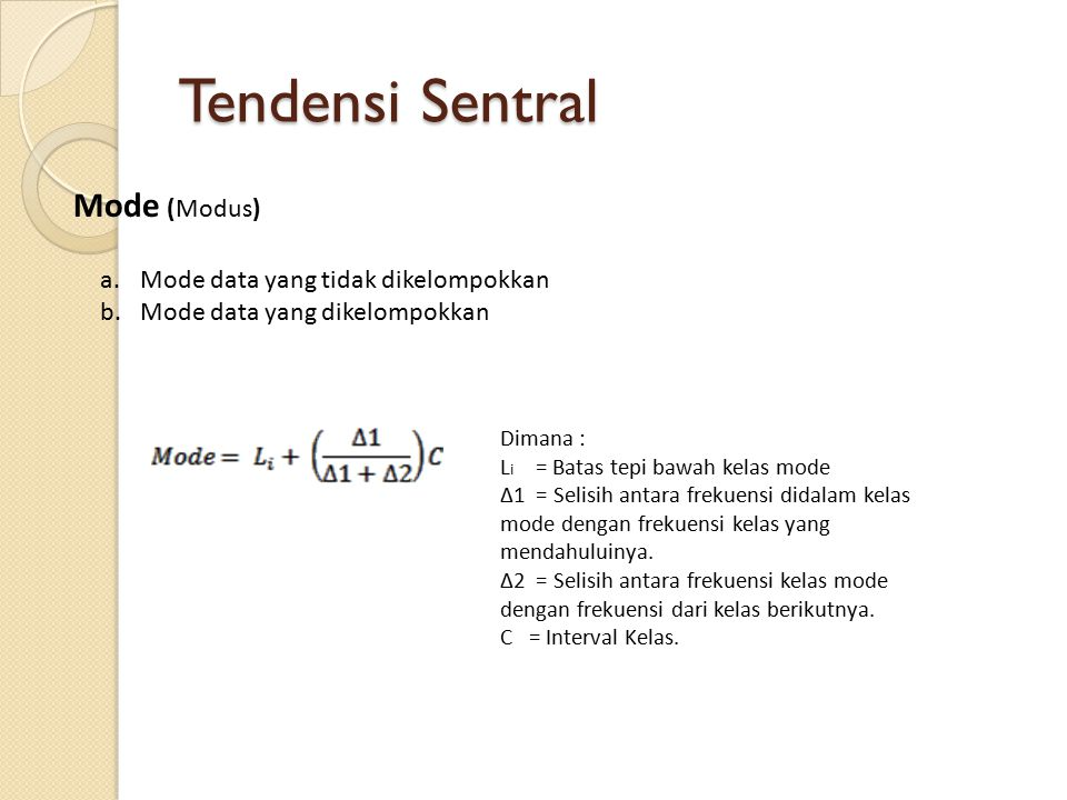 Tendensi Sentral Mode (Modus) Mode data yang tidak dikelompokkan