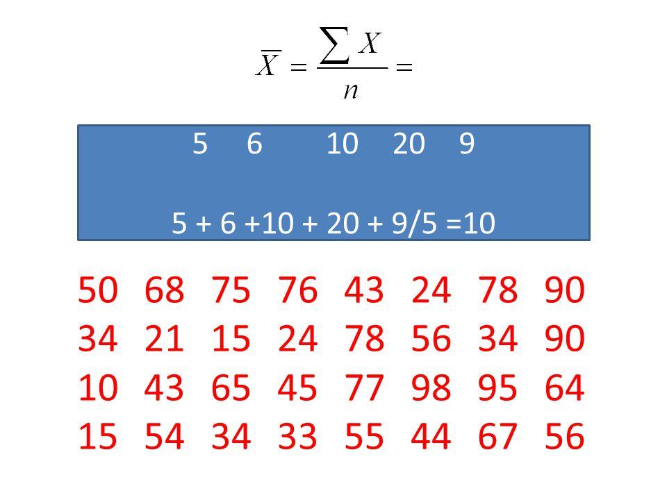 6 10 20 9 5 + 6 +10 + 20 + 9/5 =10.