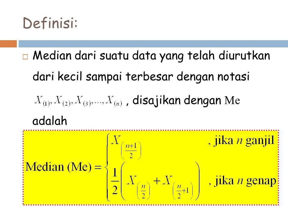 Definisi: Median dari suatu data yang telah diurutkan dari kecil sampai terbesar dengan notasi.