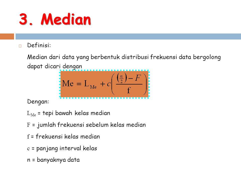 3. Median Definisi: Median dari data yang berbentuk distribusi frekuensi data bergolong dapat dicari dengan.