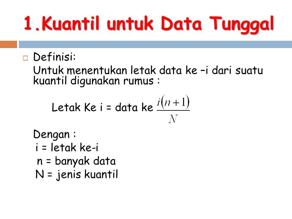 1.Kuantil untuk Data Tunggal