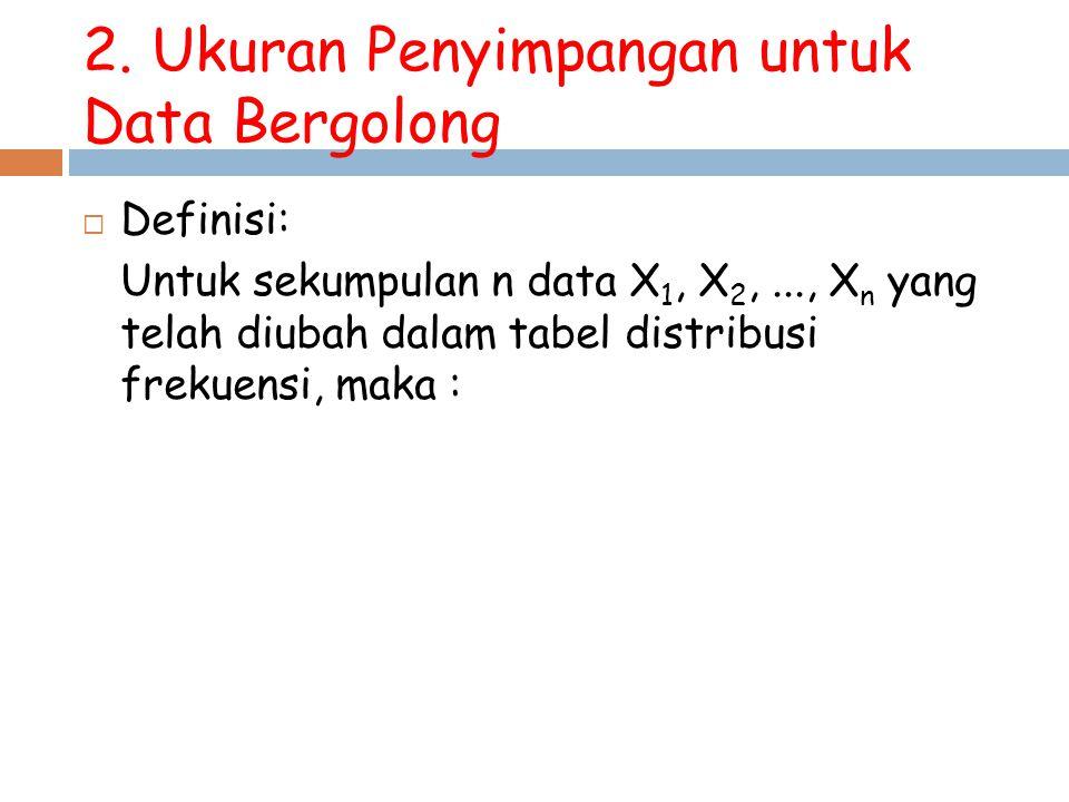 2. Ukuran Penyimpangan untuk Data Bergolong