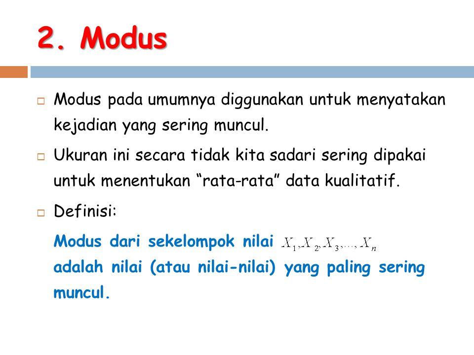 2. Modus Modus pada umumnya diggunakan untuk menyatakan kejadian yang sering muncul.