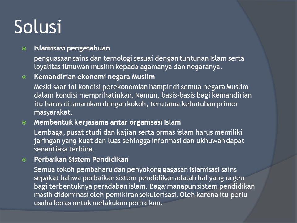 Solusi Islamisasi pengetahuan