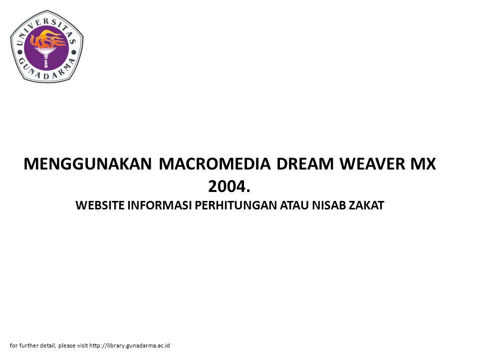 MENGGUNAKAN MACROMEDIA DREAM WEAVER MX 2004