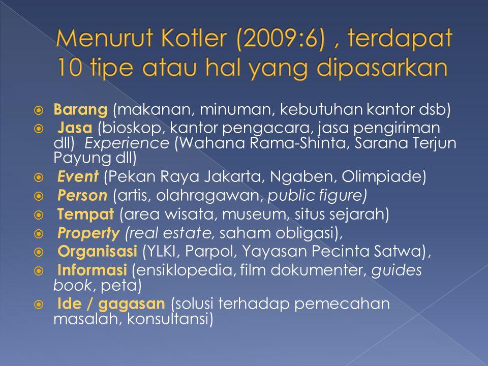 Menurut Kotler (2009:6) , terdapat 10 tipe atau hal yang dipasarkan
