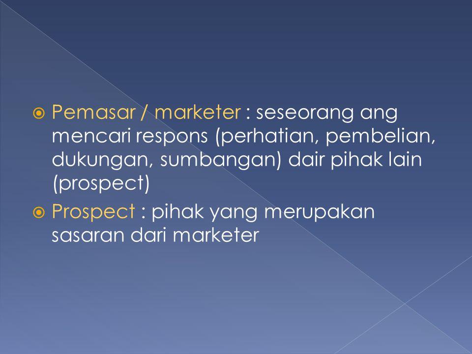 Pemasar / marketer : seseorang ang mencari respons (perhatian, pembelian, dukungan, sumbangan) dair pihak lain (prospect)