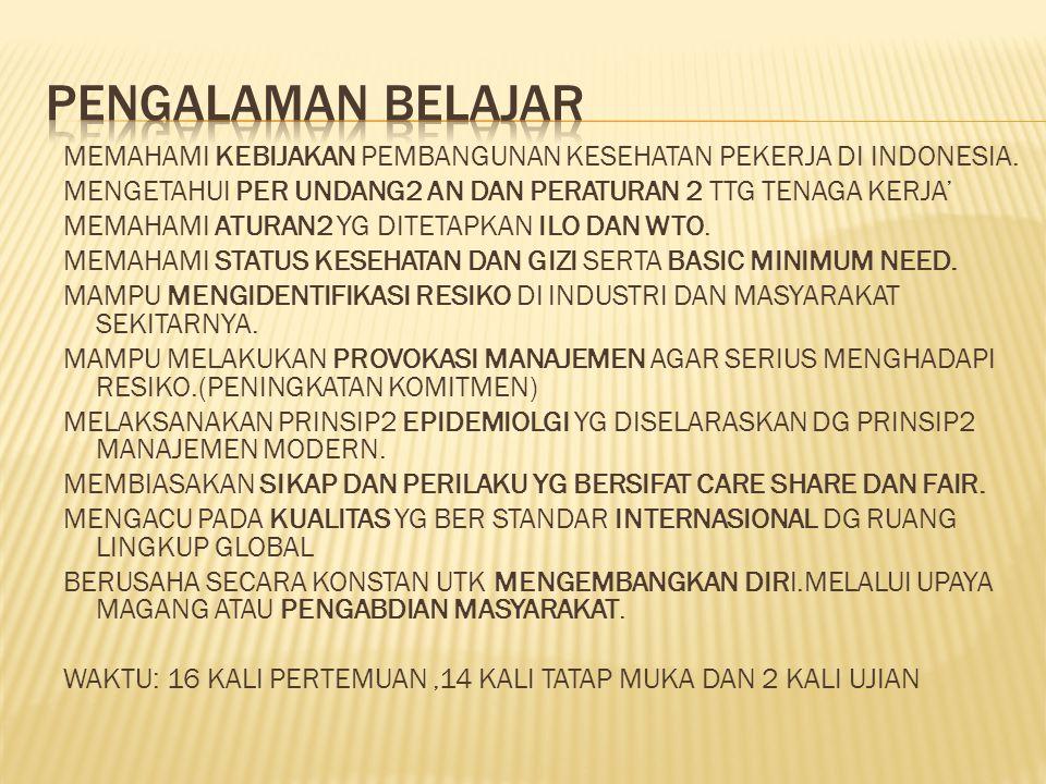 PENGALAMAN BELAJAR MEMAHAMI KEBIJAKAN PEMBANGUNAN KESEHATAN PEKERJA DI INDONESIA. MENGETAHUI PER UNDANG2 AN DAN PERATURAN 2 TTG TENAGA KERJA'