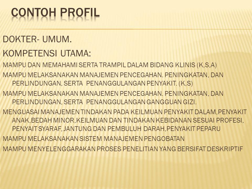 Contoh profil DOKTER- UMUM. KOMPETENSI UTAMA: