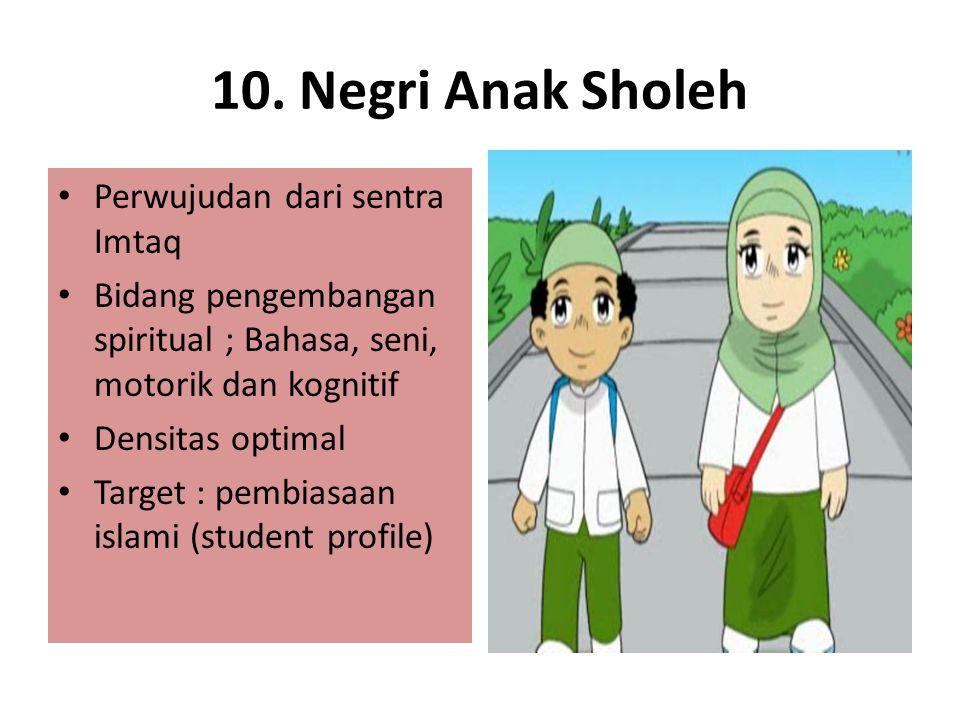 10. Negri Anak Sholeh Perwujudan dari sentra Imtaq