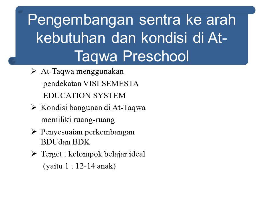 Pengembangan sentra ke arah kebutuhan dan kondisi di At-Taqwa Preschool