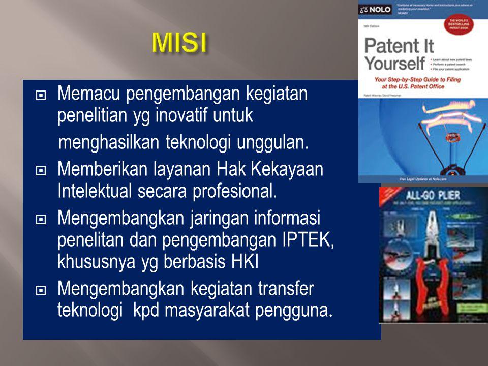 MISI Memacu pengembangan kegiatan penelitian yg inovatif untuk