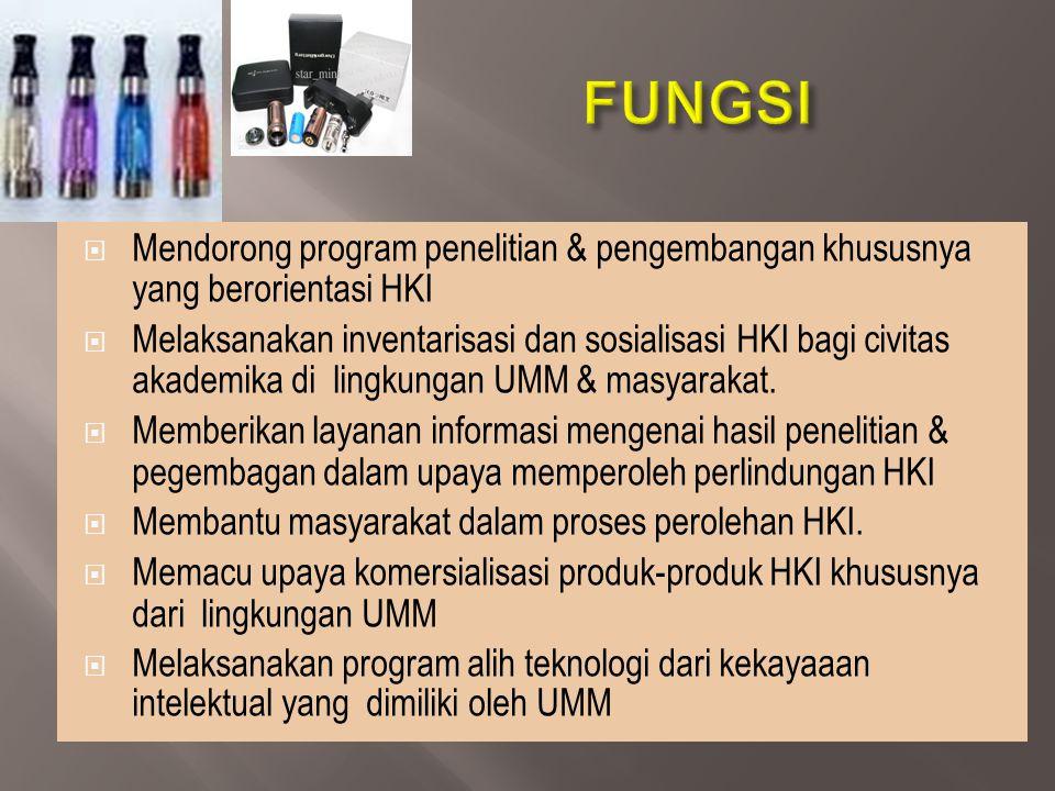 FUNGSI Mendorong program penelitian & pengembangan khususnya yang berorientasi HKI.