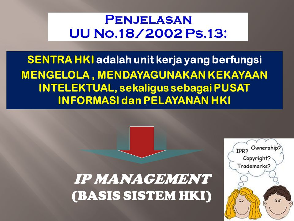 IP MANAGEMENT Penjelasan UU No.18/2002 Ps.13: (BASIS SISTEM HKI)