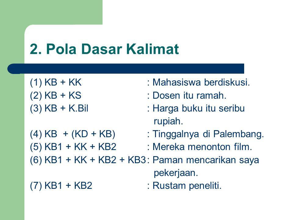 2. Pola Dasar Kalimat (1) KB + KK : Mahasiswa berdiskusi.