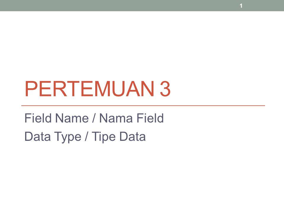 Field Name / Nama Field Data Type / Tipe Data