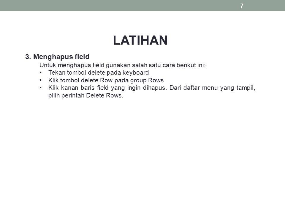 LATIHAN 3. Menghapus field