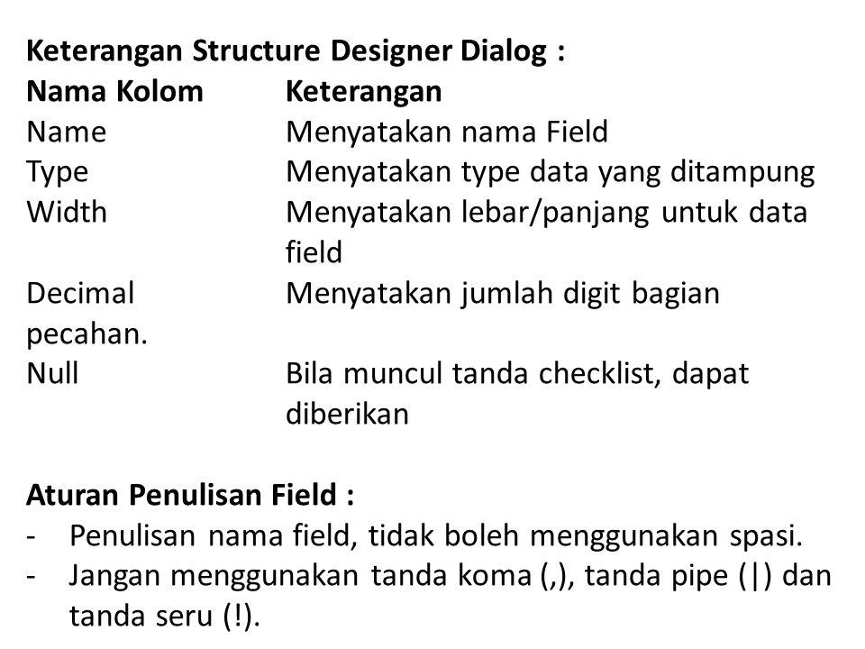 Keterangan Structure Designer Dialog :