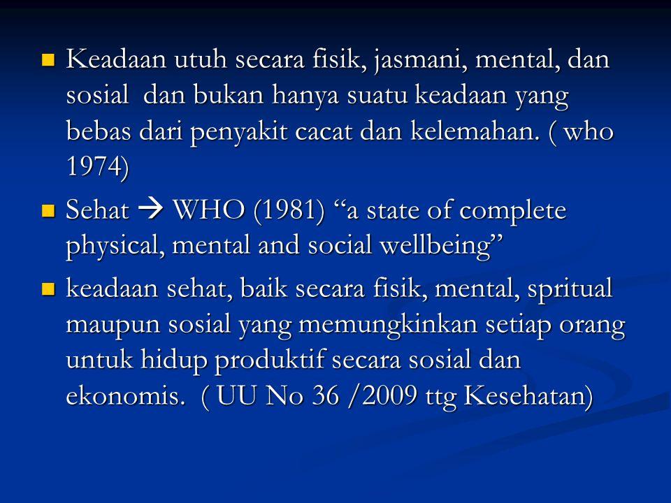 Keadaan utuh secara fisik, jasmani, mental, dan sosial dan bukan hanya suatu keadaan yang bebas dari penyakit cacat dan kelemahan. ( who 1974)