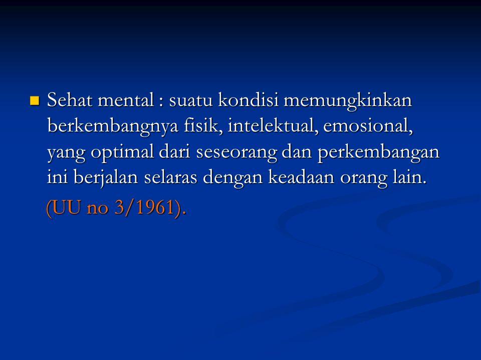 Sehat mental : suatu kondisi memungkinkan berkembangnya fisik, intelektual, emosional, yang optimal dari seseorang dan perkembangan ini berjalan selaras dengan keadaan orang lain.