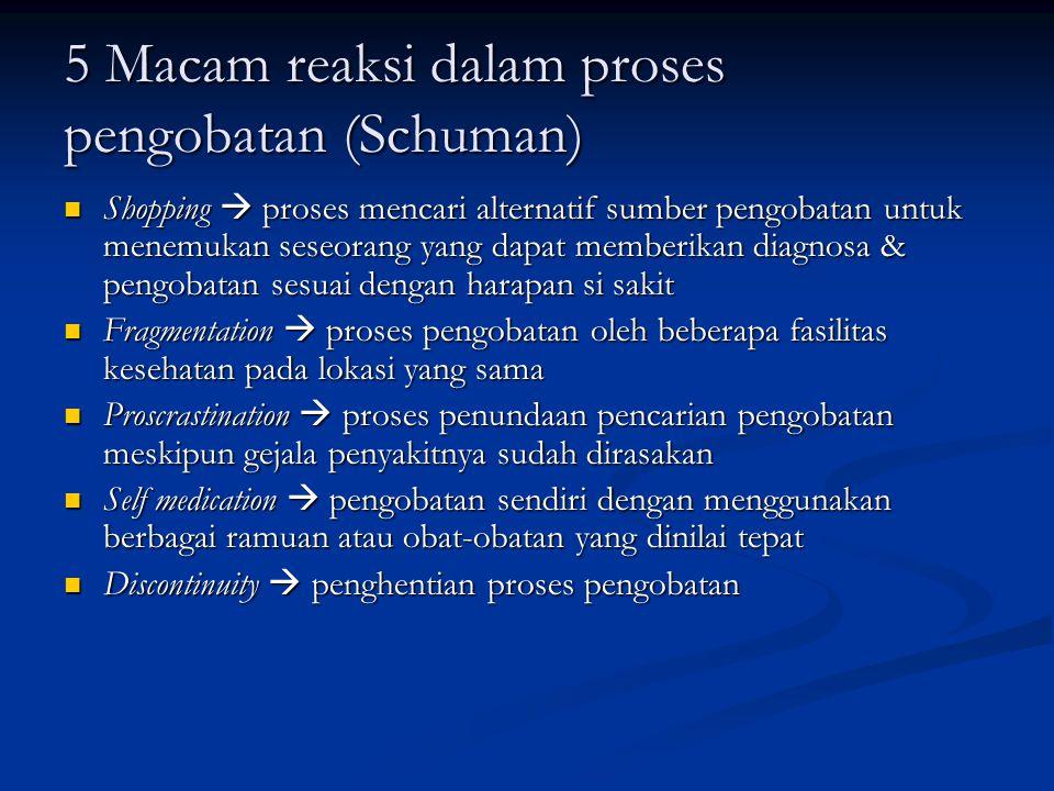 5 Macam reaksi dalam proses pengobatan (Schuman)