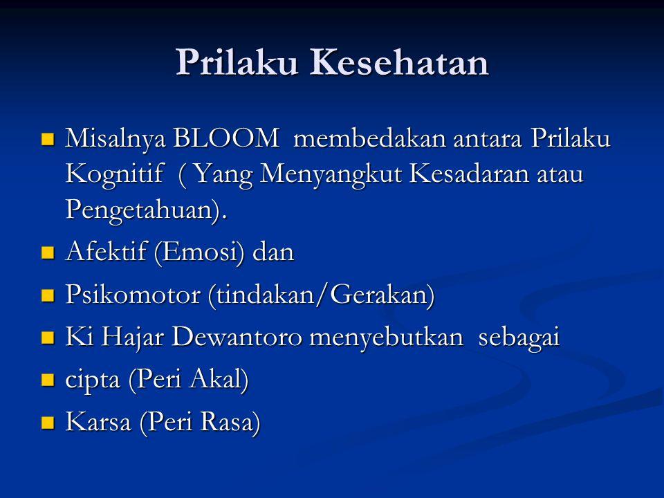 Prilaku Kesehatan Misalnya BLOOM membedakan antara Prilaku Kognitif ( Yang Menyangkut Kesadaran atau Pengetahuan).