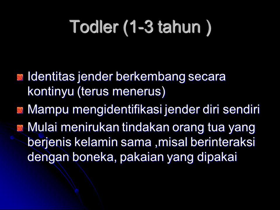 Todler (1-3 tahun ) Identitas jender berkembang secara kontinyu (terus menerus) Mampu mengidentifikasi jender diri sendiri.