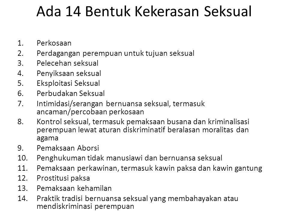 Ada 14 Bentuk Kekerasan Seksual