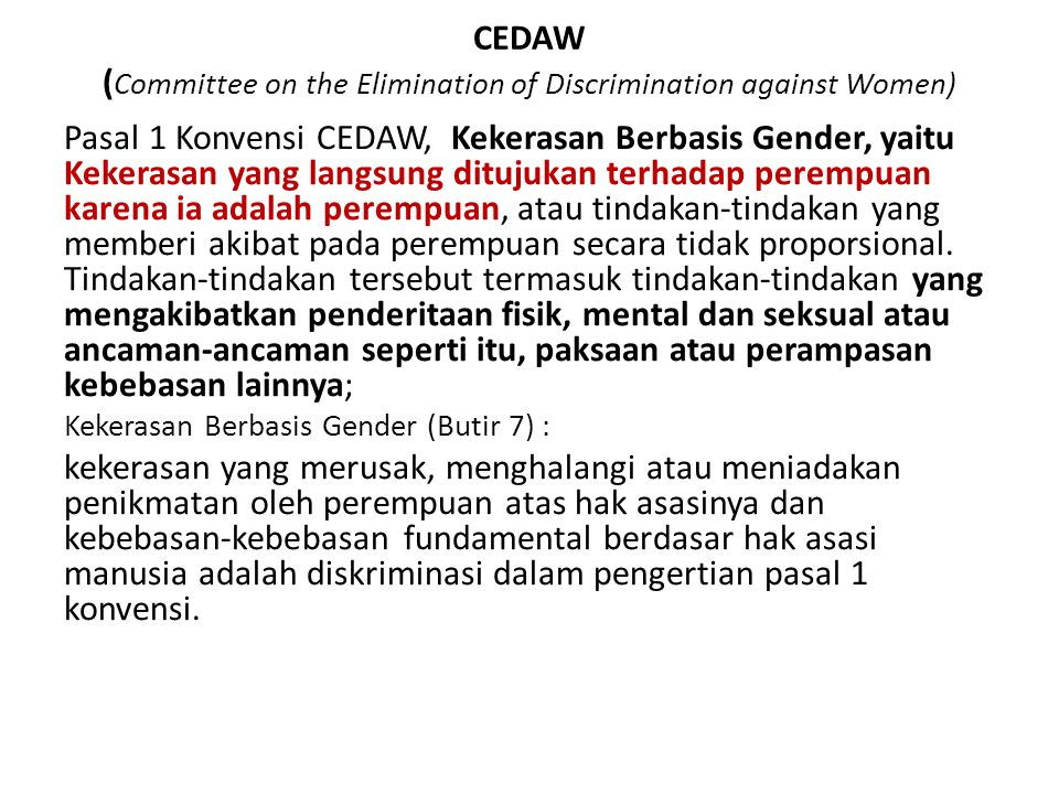 CEDAW (Committee on the Elimination of Discrimination against Women)