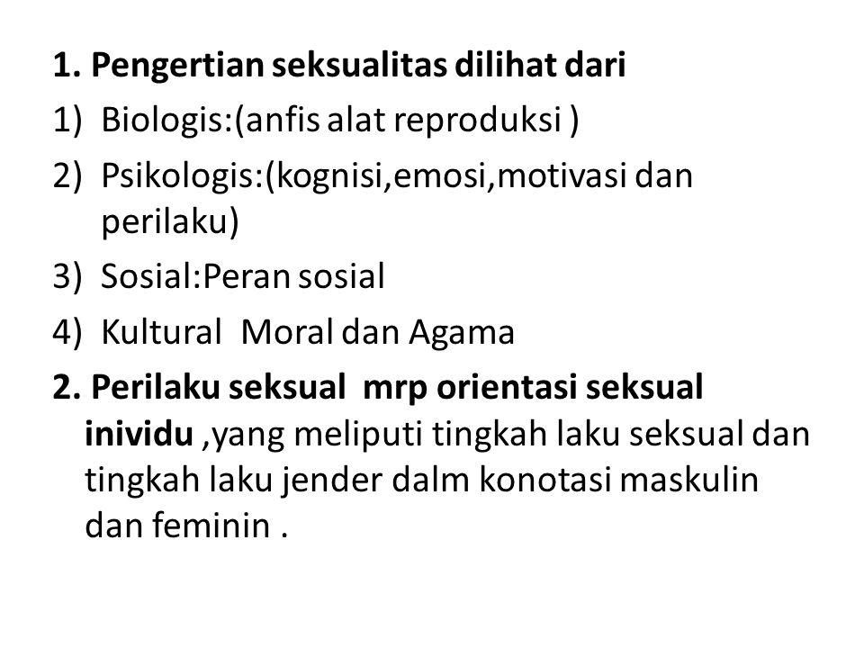 1. Pengertian seksualitas dilihat dari