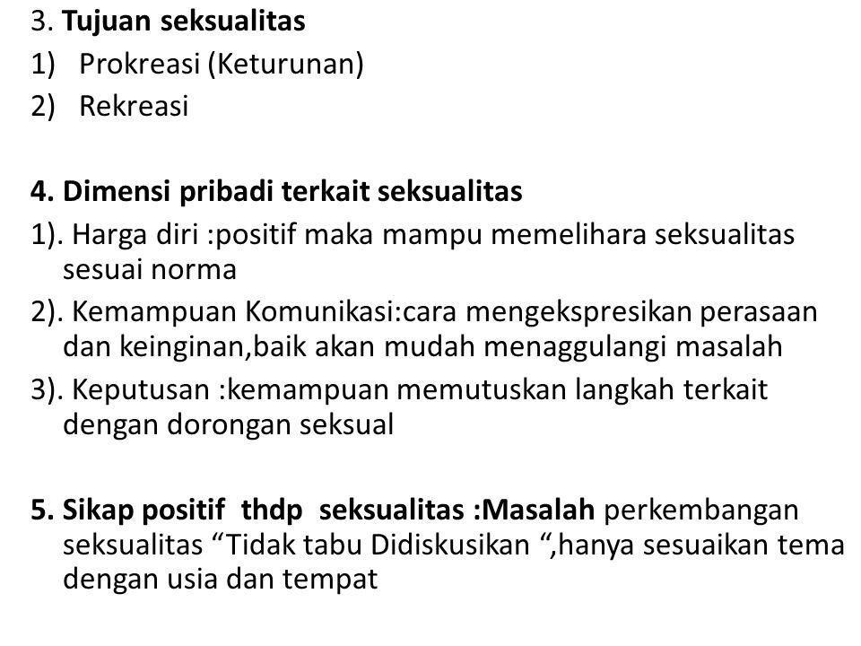 3. Tujuan seksualitas Prokreasi (Keturunan) Rekreasi. 4. Dimensi pribadi terkait seksualitas.