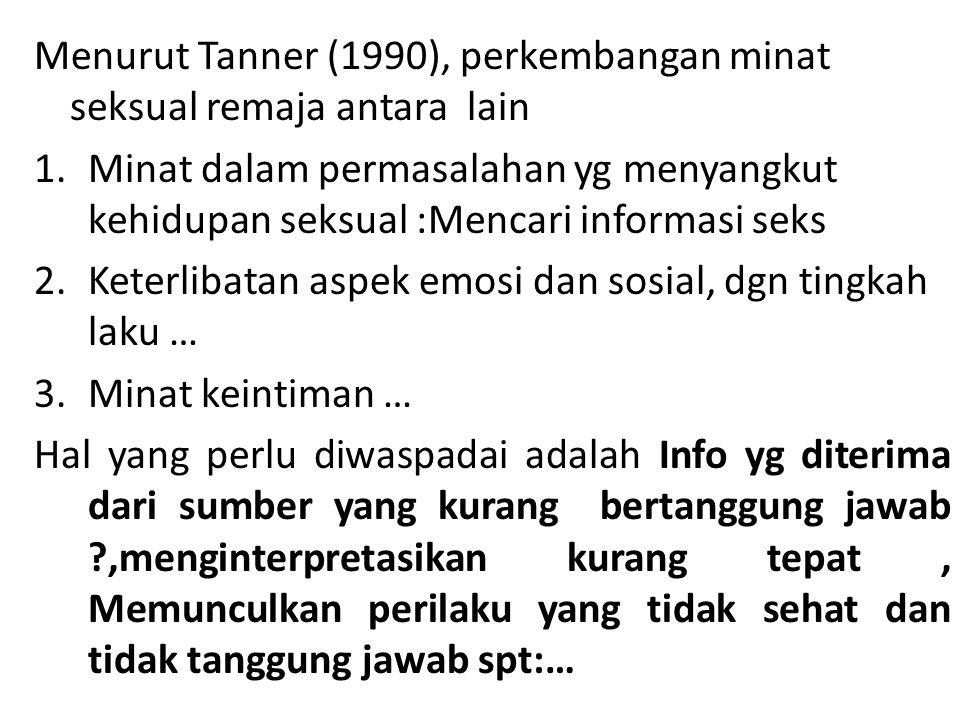 Menurut Tanner (1990), perkembangan minat seksual remaja antara lain