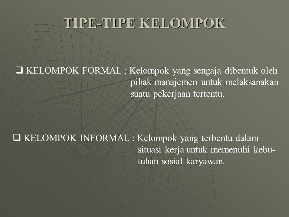 TIPE-TIPE KELOMPOK KELOMPOK FORMAL ; Kelompok yang sengaja dibentuk oleh. pihak manajemen untuk melaksanakan.